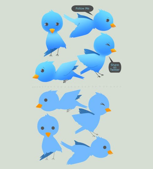 twitter birds Over 75+ Beautiful Twitter Design Icons
