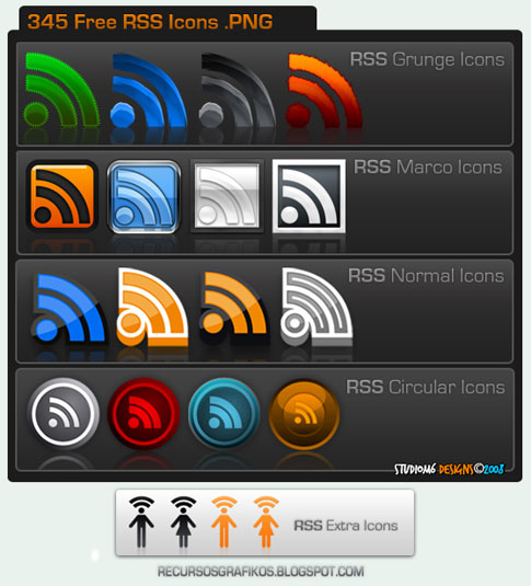 345 free rss  icons by studiom6  Ultimate RSS Feed Icon Collection Over 1500+