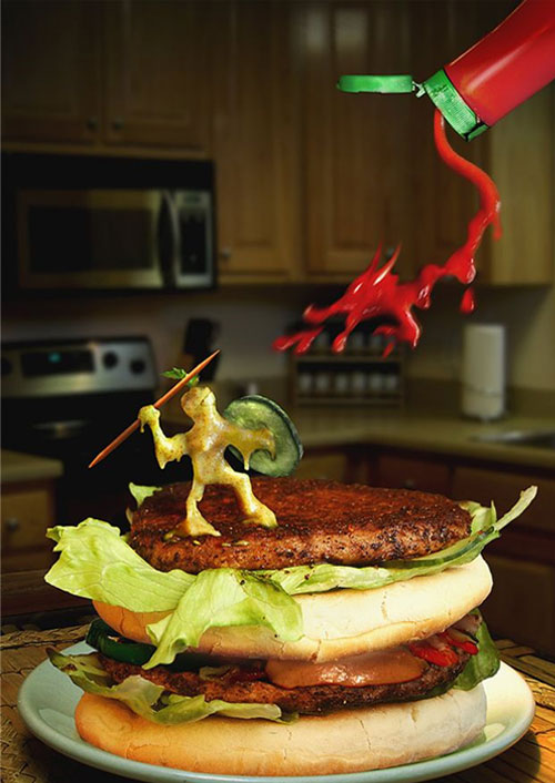 attack of burger 22 Amazing Real Life Photo Manipulations