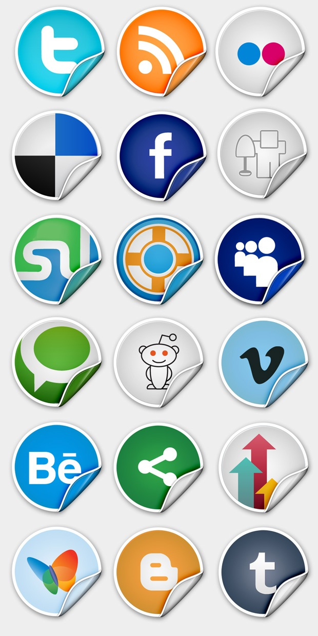 previewsocialmediaicons A Free Sophisticated Premium Peel Over Icon Set