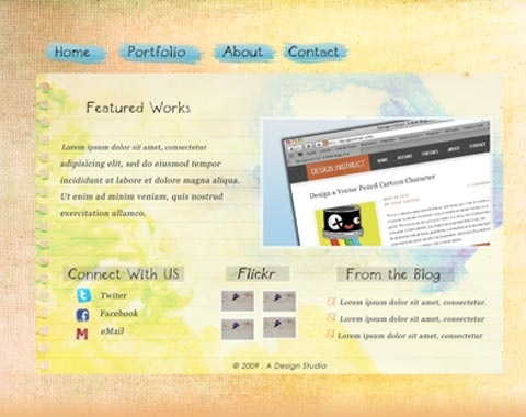 virbrantwatercolorwebsite 80 Fresh Photoshop Tutorials For Creating Awesome Websites