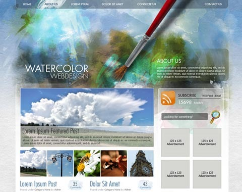 watercolorwebdesign 80 Fresh Photoshop Tutorials For Creating Awesome Websites
