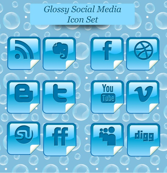 glossyiconsetpreview Glossy Beautiful Peel Over Social Media Icon Set
