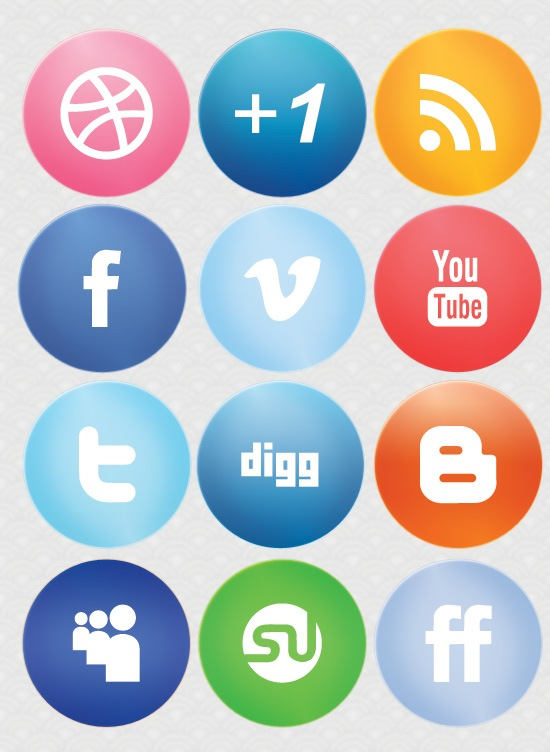 largeglossysocialmediaicons Large Glossy Social Media Icons