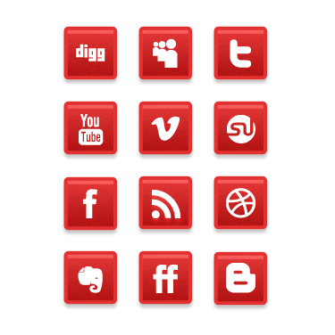 subtleiconspreview A Simple Subtle Red Grunge Social Media Icons