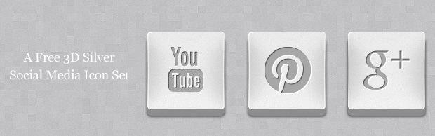 socialmediaicons3dbanner A Free 3D Silver Social Media Icon Set