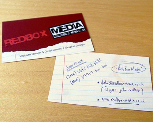 redboxbusinesscard 70 Creative And Innovating Business Card Designs You Must See
