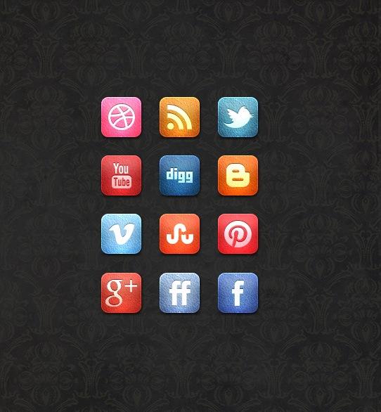 leathersocialmediaiconsetpreview A Free Leather Social Media Icon Set