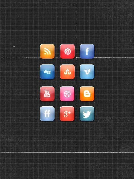 glossyiconspreview A Nice Glossy Free Social Media Icon Set