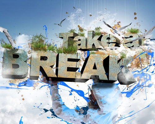 take a break thumb 30 Best Ever Photoshop Tutorials For Creating 3D Text Effects