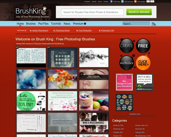 brush king thumb 10 Best sites for discovering amazing free Photoshop brushes