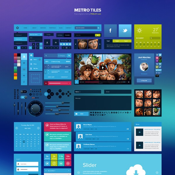 flat metro thumb 20 Free Photoshop PSD flat UI kits