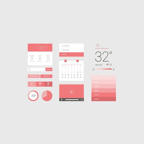 flat pink ui kit thumb 20 Free Photoshop PSD flat UI kits