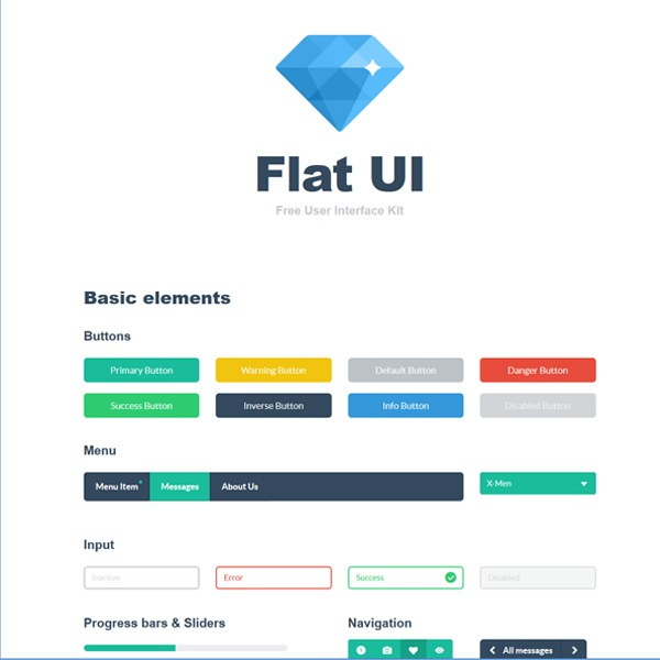 flat ui kit thumb 20 Free Photoshop PSD flat UI kits