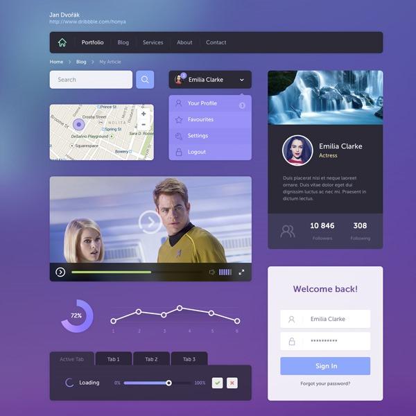 purple ui kit thumb 20 Free Photoshop PSD flat UI kits