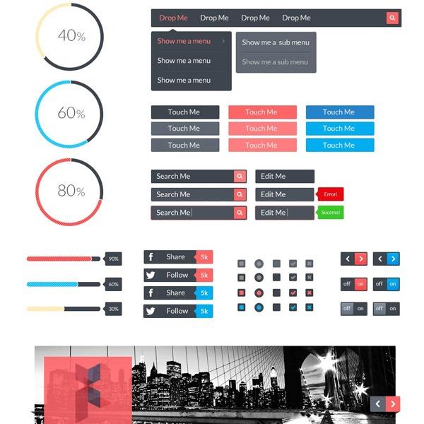 sarah thumb 20 Free Photoshop PSD flat UI kits