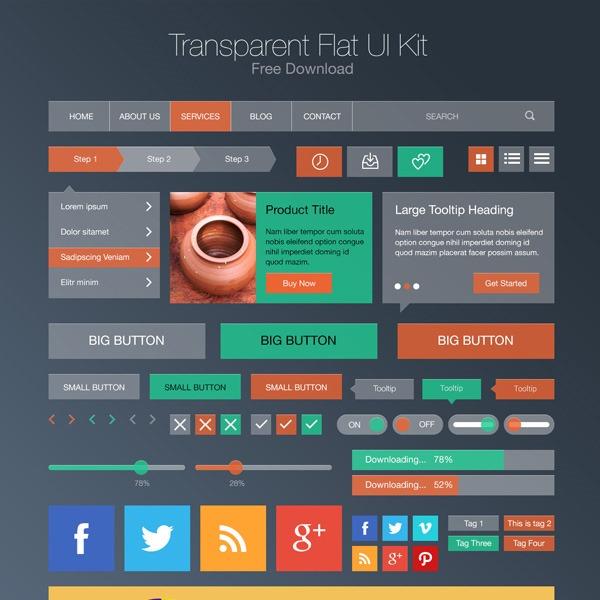 transparent flat kit thumb 20 Free Photoshop PSD flat UI kits