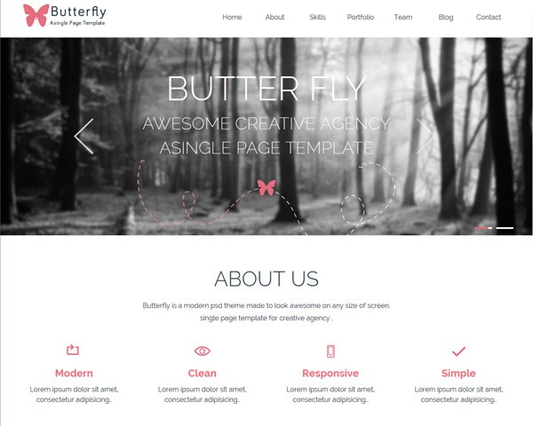 butterfly 50 best free html responsive templates