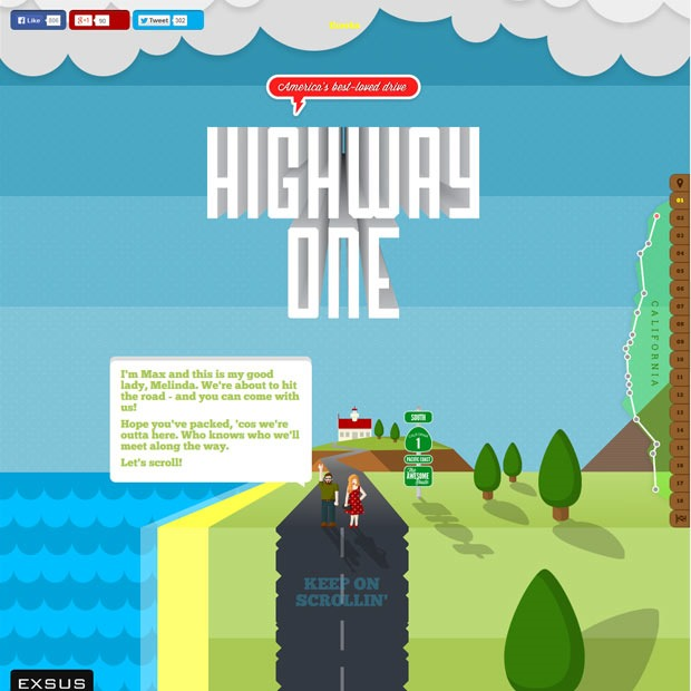 highway thumb 50 Mind blowing examples of parallax website designs