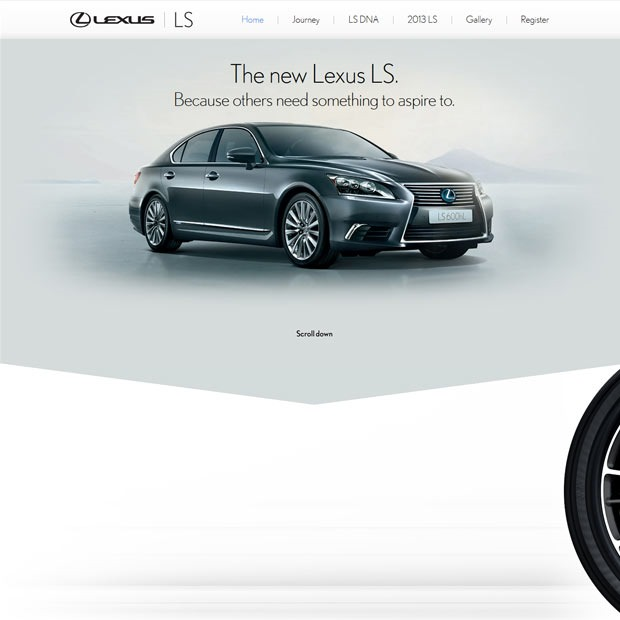 lexus 50 Mind blowing examples of parallax website designs