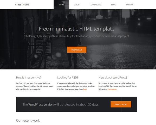 nina theme 50 best free html responsive templates