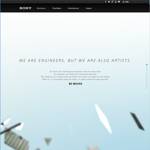 sony 50 Mind blowing examples of parallax website designs