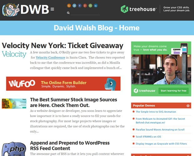 david walsh 20 Blogs every web designer should be reading