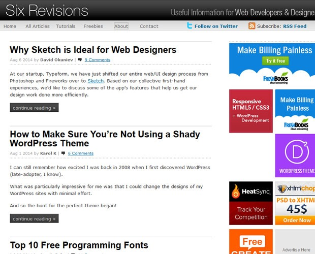 six revisons 20 Blogs every web designer should be reading