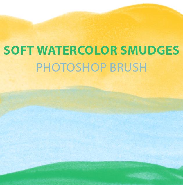 soft watercolor smudges photoshop brush set1 Soft watercolor smudges free Photoshop brush set