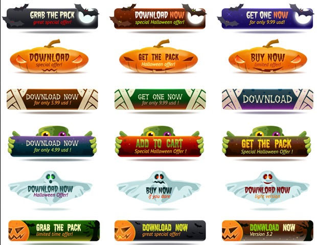 halloween buttons thumb 40 Essential Halloween vectors and icons