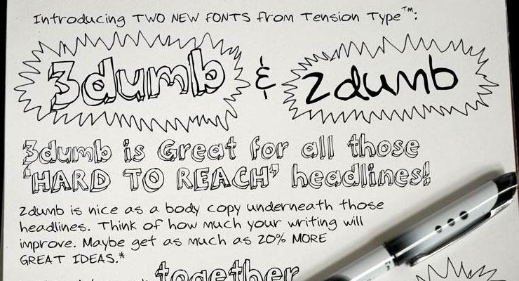 3dumb thumb 20 best hand drawn free fonts