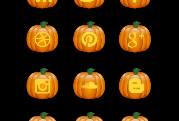 halloween-pumkin-social-icon-set
