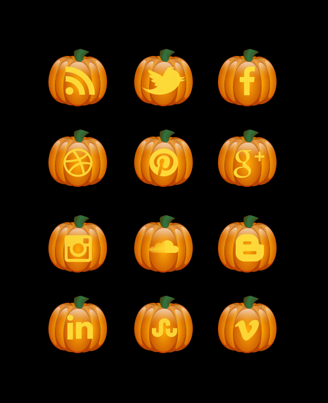 halloween pumkin social icon set Halloween pumpkin free social media icon set