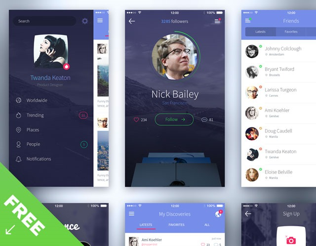 iphone6 30 Free mobile UI kits for Photoshop and Sketch
