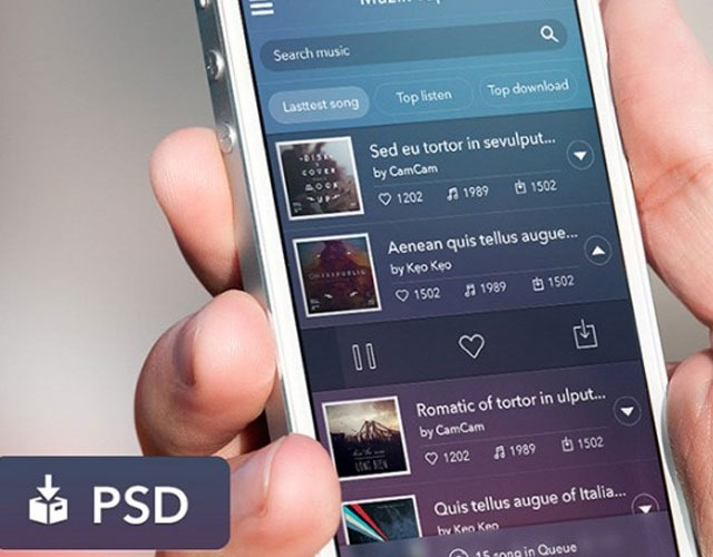 music ui 30 Free mobile UI kits for Photoshop and Sketch