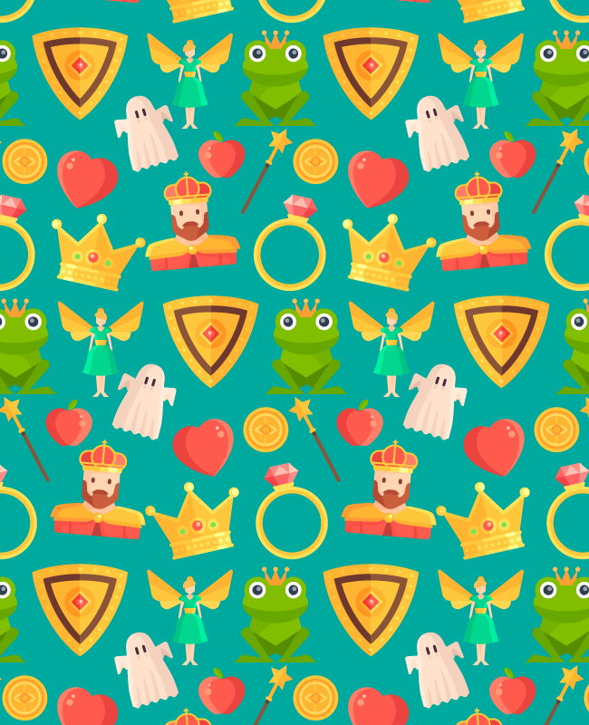 green seamless pattern Fairy tale free seamless vector pattern