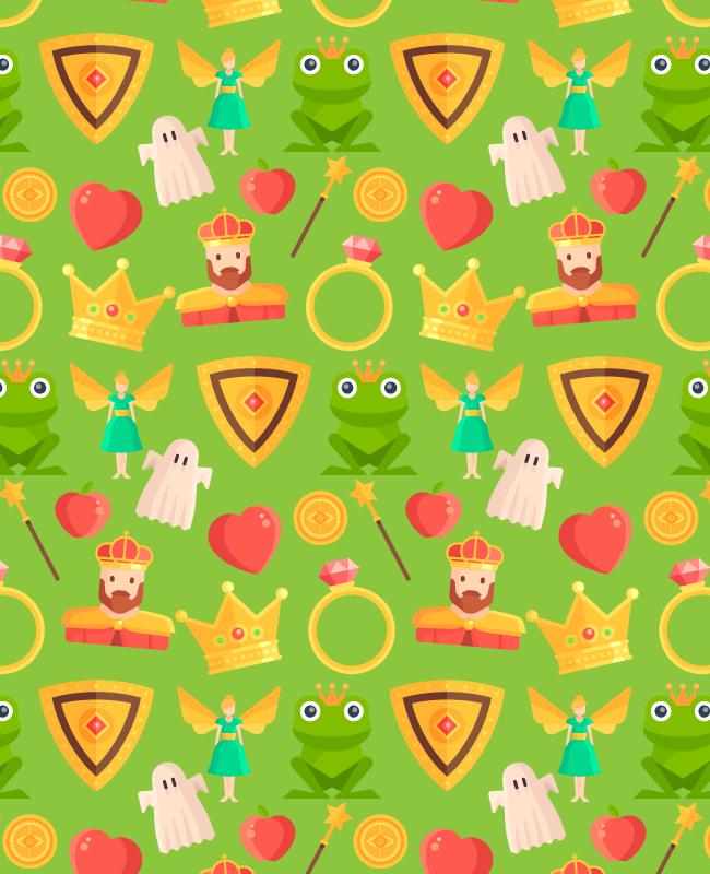 light green fairy tale patttern Fairy tale free seamless vector pattern