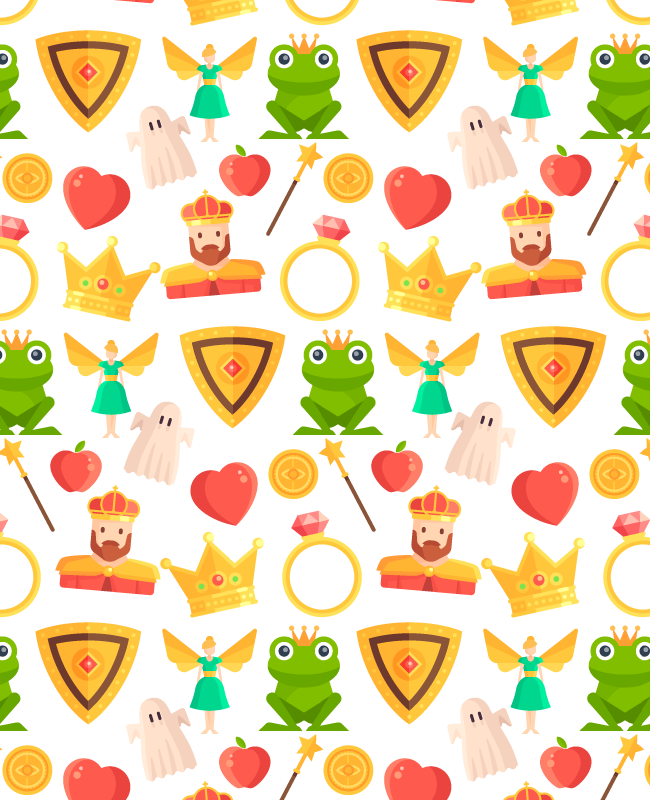 white fairy tale seamless pattern Fairy tale free seamless vector pattern