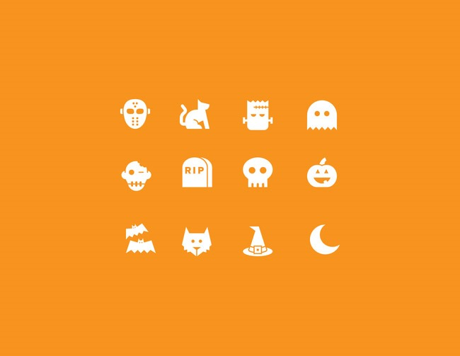 halloween orange simple icons 40 Essential Halloween vectors and icons