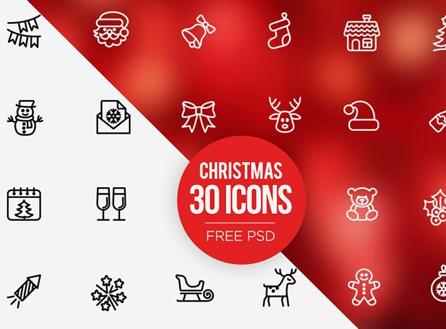 30 icons 25 Free Christmas themed icon sets