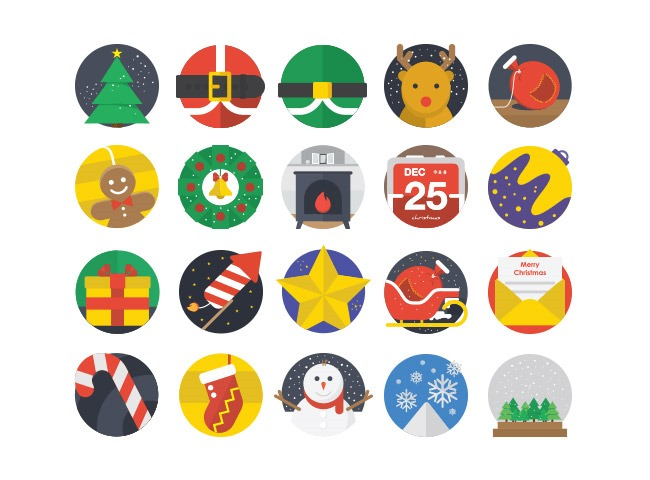 flat icons 25 Free Christmas themed icon sets