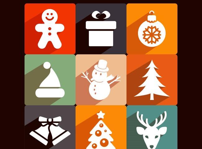 longshadow christmas icons 25 Free Christmas themed icon sets