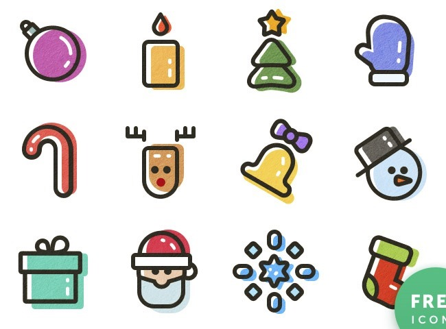 new year icons 25 Free Christmas themed icon sets