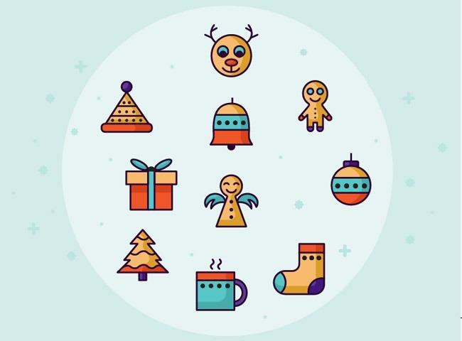 retro christmas 25 Free Christmas themed icon sets