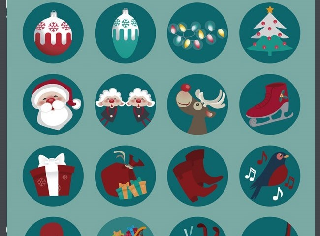 round icons 25 Free Christmas themed icon sets