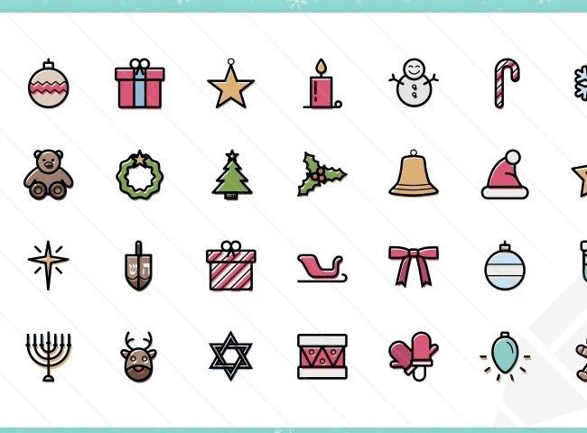 thin 25 Free Christmas themed icon sets