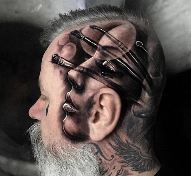 head tatto 35 Mind blowing realistic tattoo designs
