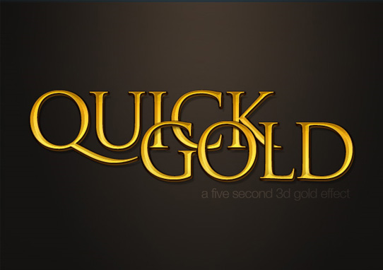 quick gold  14 Spectacular 3D Text Effects Tutorials