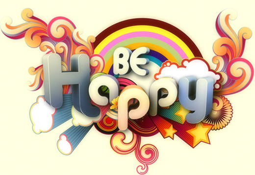 be happy 25 Inspirational 3D Typography Designs