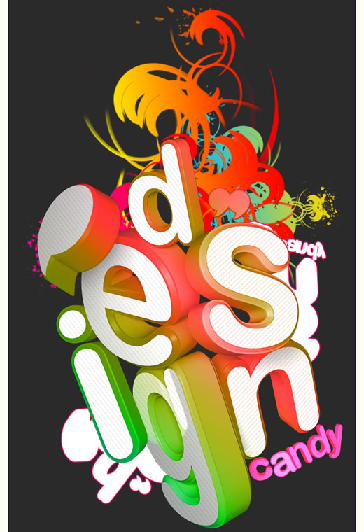 design candy by ardcor 25 Inspirational 3D Typography Designs